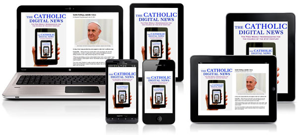 image of The Catholic Digital News loaded onto an assortment of electronic devices